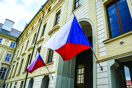 Building with Czech Flags